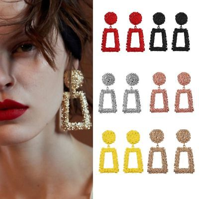 Fashion Gold Metal Punk Dangle Earrings Jewelry Geometric Big Drop Earrings -