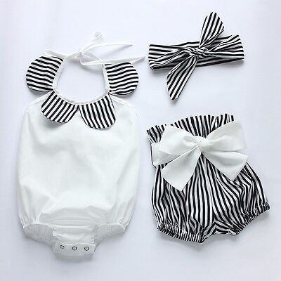3PCS Newborn Baby Girls Romper Bodysuit+Short Pants Headband Outfits Sunsuit
