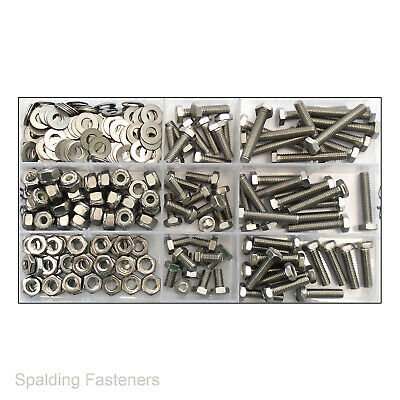 """Assorted 3/16"""" 10-32 Unf A2 Stainless Steel Hexagon Bolts, Nuts, Washers"""