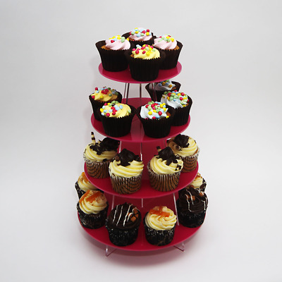 Metallic 4 Tier Small Round Cupcake Stand, Birthday, Party, Baking, 7 Colours