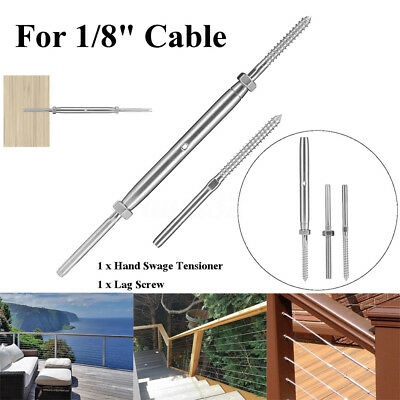 """T316 stainless steel hand swage tensioner + lag screw for 1/8"""" cable railing  RD"""