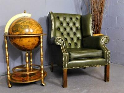 A Good Vintage Green Leather Chesterfield Library Reading Club Chair Armchair