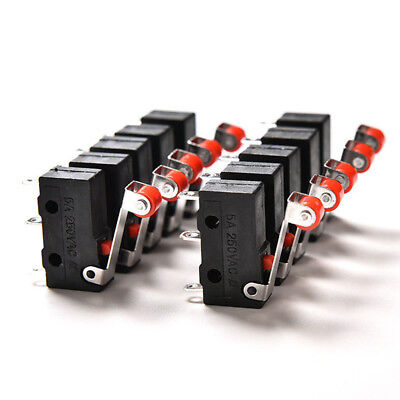 10Pcs/lot Micro Roller Lever Arm Open Close Limit Switch KW12-3 PCB Microswit RD