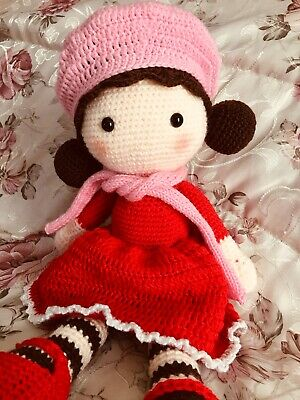 Handmade Crochet Doll, Beautiful Girl Wearing Beret Hat With Red Dress.