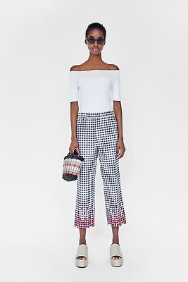 c07376d4 New Zara SS18 Embroidered Gingham Trousers Cutwork Checked Sz XS ref.  3046/051