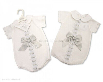 Baby Girls Boys Spanish Style RomanyWhite  Knitted Lace & Bow Romper Outfit S'19