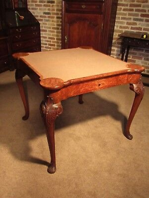 Superb Quality Edwardian Burr Walnut Concertina Card Table of George I design