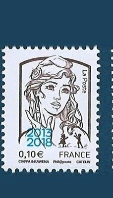 Timbre 2013 2018 marianne ciappa 0,10ct surchargé *NEUF*