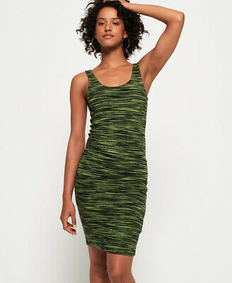 New Womens Superdry Vacation Stripe Bodycon Dress Lime