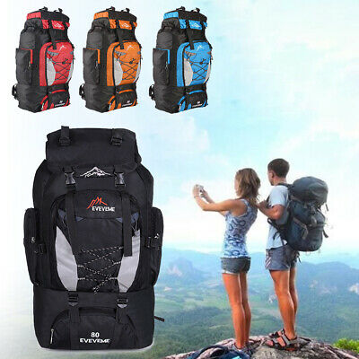 80L Extra Large Nylon Camping Backpack Rucksack Outdoor Hiking Sports Bag UK
