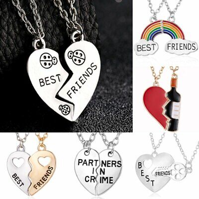 Best Friends BFF Heart Letters Couple Pendant Necklace Womens Jewellery Gifts