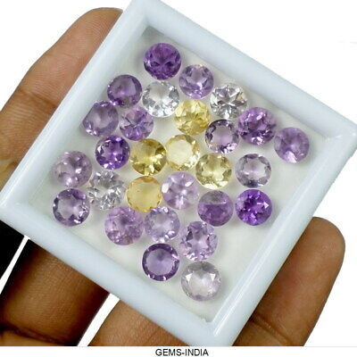 28 Pcs ~ Citrine & Amethyst 6-7mm Round Faceted AAA Natural Gems Lot For Jewelry