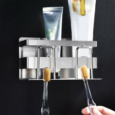 Bathroom Toothbrush Holder Stand Set Plastic Cup Toothpaste Storage Rack Shelf