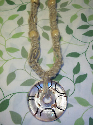 HANDMADE 23 inch FAT HEMP Necklace with PINK Glass ROUND Donut Pendant H-36