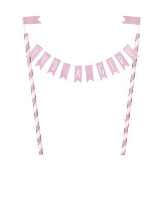 Pink Hearts Baby Shower 'It�s a Girl' Bunting Cake Topper