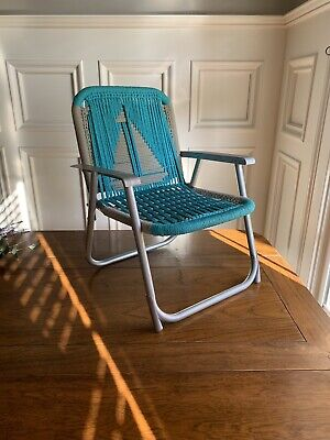 Vintage Child's Aluminum Macrame Folding Lawn Chair Blue & Grey With Sailboat