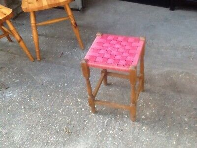 Wooden Frame Stool With Red Woven Seat