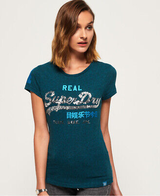 New Womens Superdry Vintage Logo Sequin T-Shirt Atlantic Teal Rugged