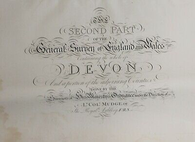 DEVON ORDNANCE SURVEY 8 double-age MAP 1 inch mile. First Edition 1809