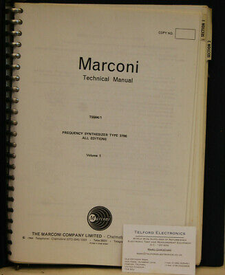 Marconi T5564/1 Frequency Synthesizer TYPR 3786 Technical Manual Volume 1