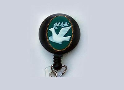 PEACE DOVE Retractable Reel ID Badge Holder/Key Chain ring/Security World Teal