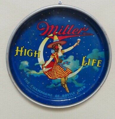 Vtg  Miller High Life Beer Girl On The Moon Metal Tin Tray K