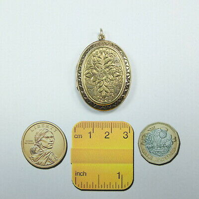 Antique Victorian Gilt Metal Oval Ornate Photo Locket Pendant Picture Locket