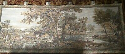 "Stunning Large 75"" x 29"" Vintage French Tapestry, River, Cattle, Shepherd, Boat"