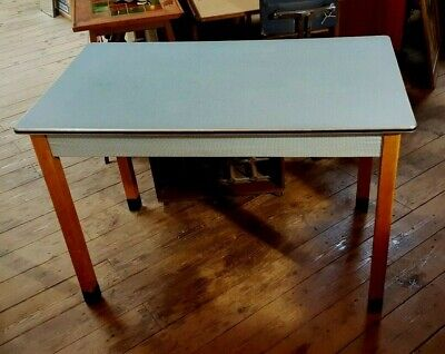 Vintage Retro Formica type Pale Blue Kitchen Table 1960s Beech legs strong rare