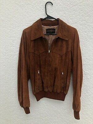 28e9ca40437 Yves Saint Laurent 70s Vintage Brown Suede Leather Western Pullover Jacket  - 42