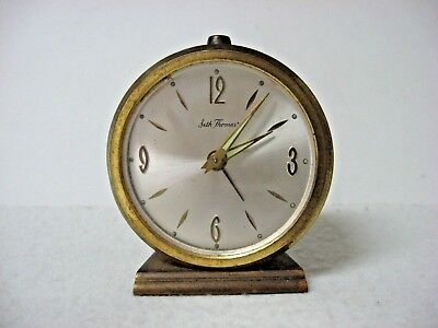 Vintage SETH THOMAS BRASS COLO round TABLE ALARM CLOCK Windup AS IS