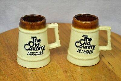"""Vintage Pair of Small """"The Old Country"""" Busch Gardens Mini Mugs Souvenirs"""
