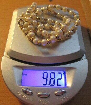 """14kt Yellow Gold beads & Pearl Necklace 16 1/2"""" long 9.82 grams. free shipping!"""