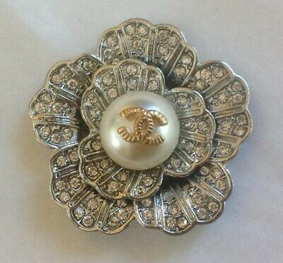 """Vintage Chanel Silver Crystal Flower Buttons  Size 1,5"""" Rare"""