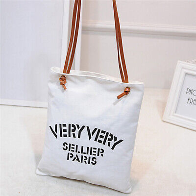 Ladies Canvas Shopping Tote Letter Shaped Shoulder Straps Holidays Handbag 6A