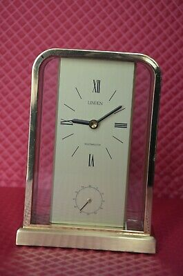 Vintage Linden Working Westminster Brass/Glass B/O Table Top Chime Clock