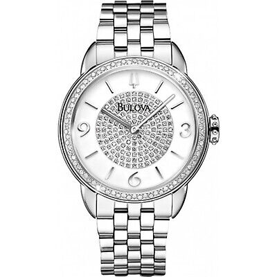 Bulova Women's 96R184 Quartz Diamond Accents Silver-Tone Bracelet 32mm Watch