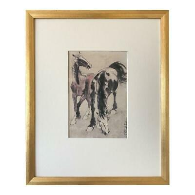 Vintage Chinese Watercolor Painting of Horses Manner of Xu Beihong 1930s