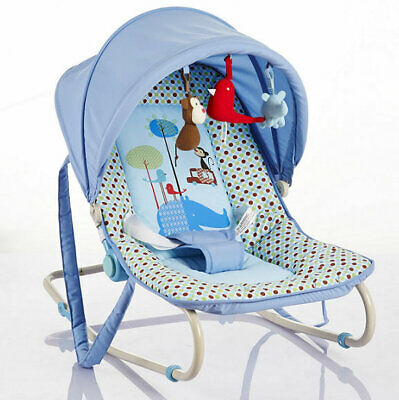 New Cute baby classic rocker blue spotted with canopy & toys from birth to 12kg