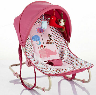 New Cute baby classic rocker pink spotted with canopy & toys from birth to 12kg