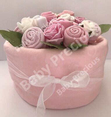 Nappy Cake, Baby Girl, Bouquet, Pink, Baby Shower, Mum to be, maternity leave