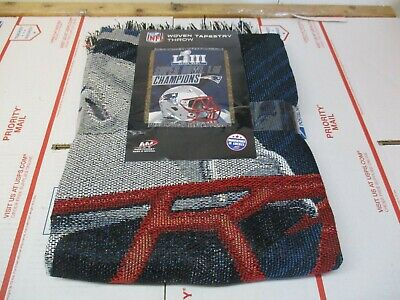 Nfl New England Patriots Super Bowl Liii Champions Woven Tapestry Throw New