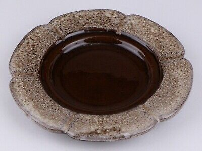 Evangeline Pottery Canada 946 Brown Drip Ashtray 7 Inches