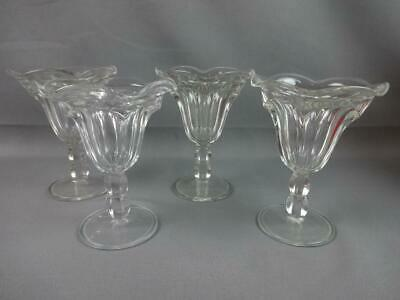 4 Vintage Clear Glass Ice Cream Sundae Dishes Flared Trumpet Sherbert Soda Shop