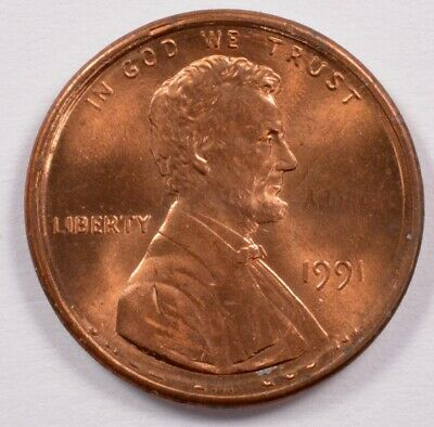 1c 1991 Lincoln Cent Rotated Double-Strike BU RB