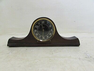 1940'S Smiths 30 Hour Mantel Clock In Solid Carved Wooden Case With Bun Feet