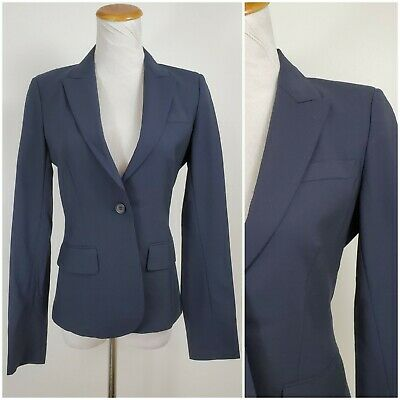 bb3326d8133c Theory 2 Blazer Jacket Navy One Button Womens Lined Career Wool Blend