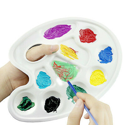 12pk Plastic Paint Oval Tray 10 Wells Water Color Paint Artist Drawing Supply