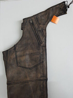 Mens Distressed Brown Four Pocket Thermal Lined Chap