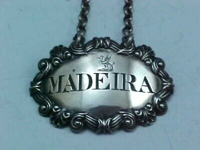 "1818 Sterling Silver Decanter Wine Label ""Madeira"" With Crest John Reily London"